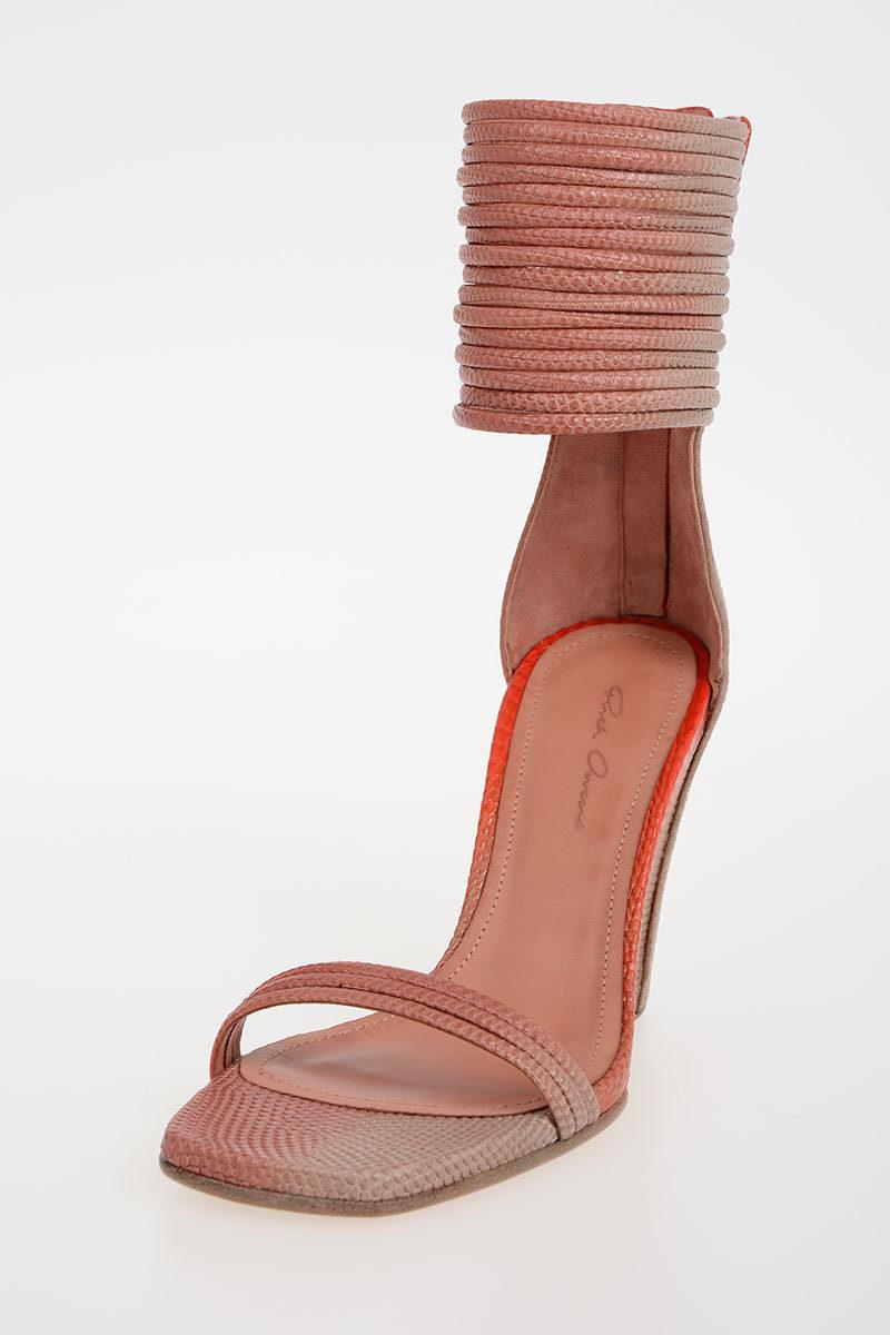 Rick Owens 10cm Leather MIGNON ANKLE STRAP WEDGE LIZARD Sandals ... 7110a3003