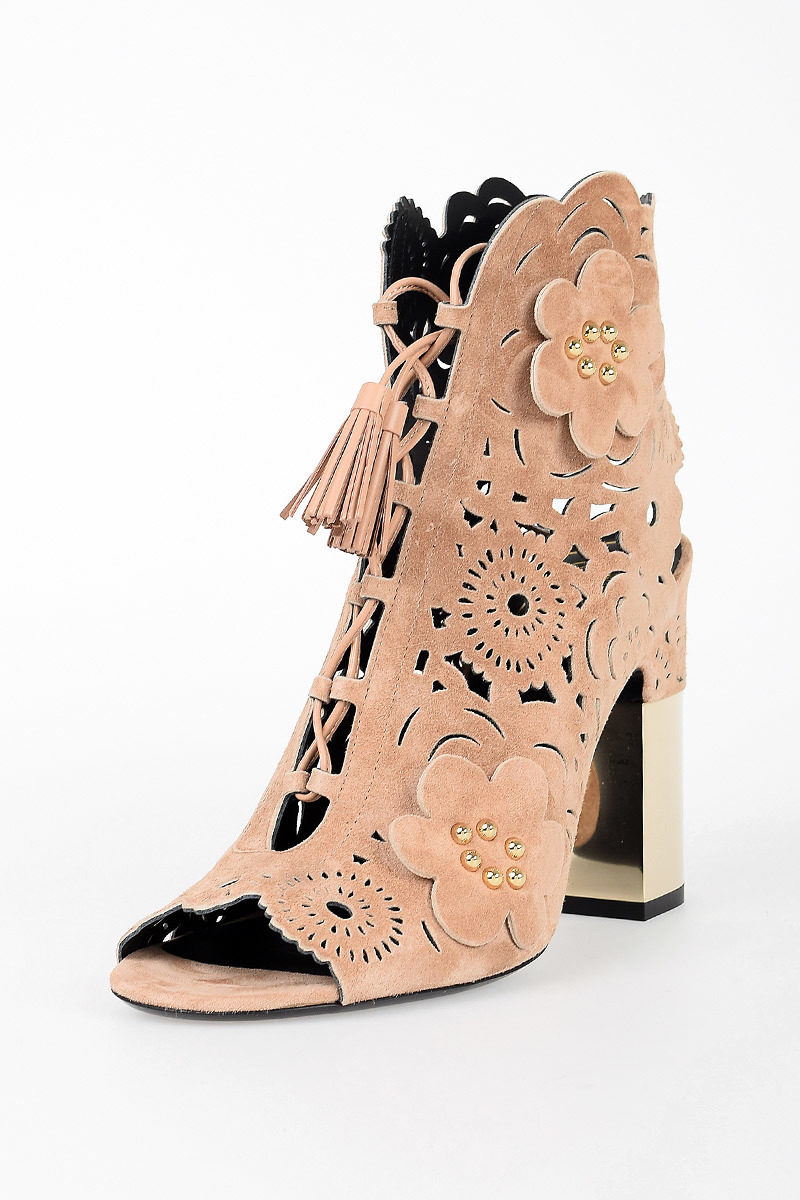 10cm Leather PODIUM Laser Cut ankle Boots Spring/summer Roger Vivier SNWO64Xlkf