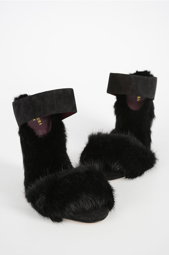 10cm Mink and Leather Open Toe