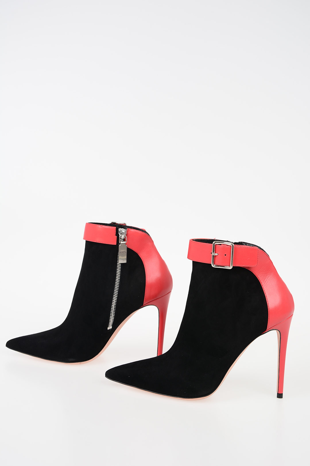 meet available hot sale 11cm Black Red Leather Ankle Boots