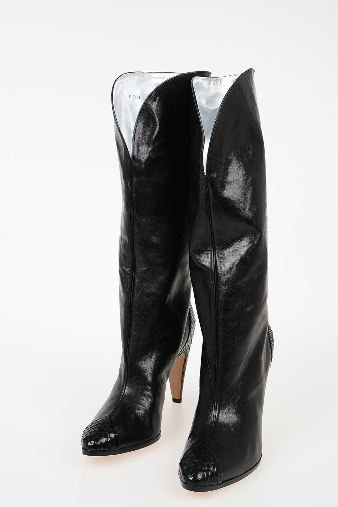 11cm Leather Boots with Python Details