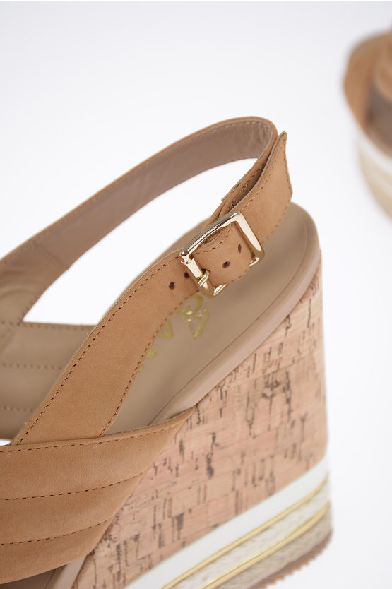 11cm Leather Sandals with Wedge