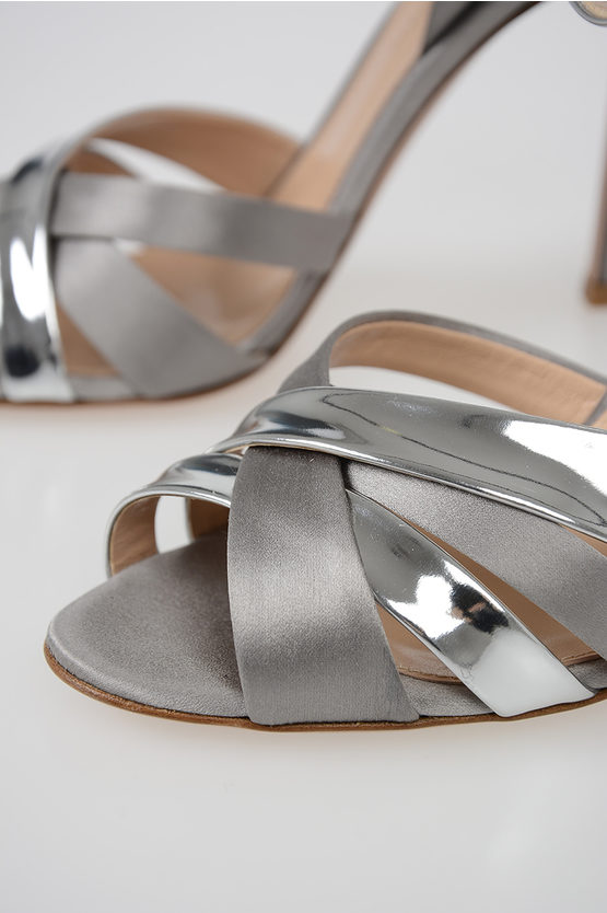 12cm Satin and Leather Sandals