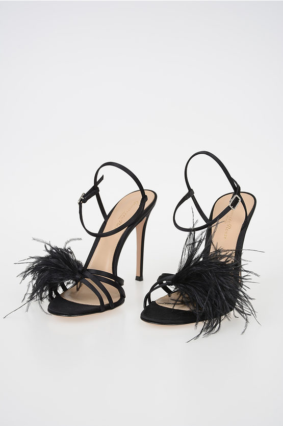 12cm Satin GINGER Sandals with Feathers Applied