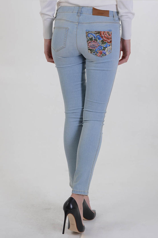 13cm Stretch Denim Flowers Embroidered Jeans