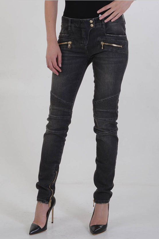 13cm Stretch Denim Jeans with Ankle Zip