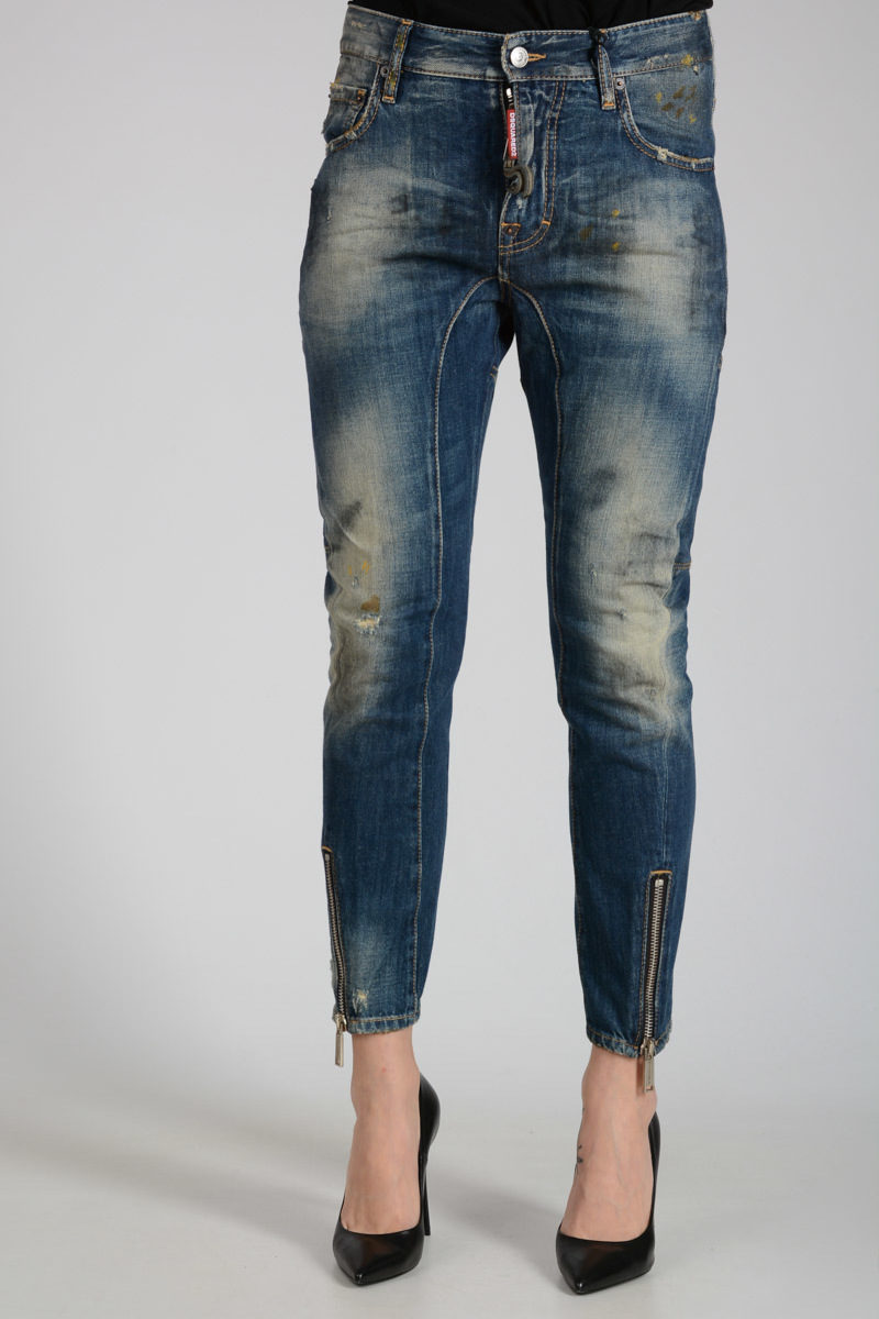 Reliable Online 15cm BIKER Distressed Jeans with Ankle Zip Spring/summer Dsquared2 Cheap Sale Original Largest Supplier Online 8u99H