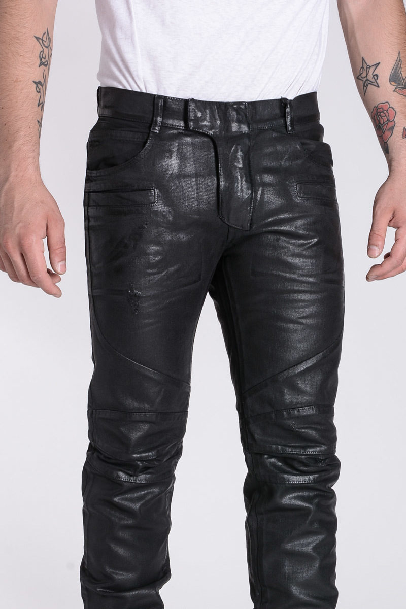 1e84aeef Balmain 17 CM Wax Denim Biker Pants men - Glamood Outlet