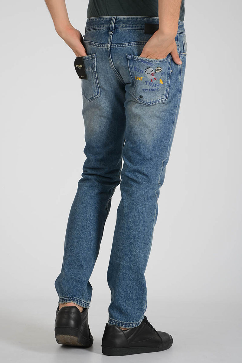 44c9afc90a Fendi With 17cm Glamood Denim Outlet Jeans Embroidery Men xxrFft