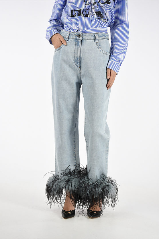 18cm Jeans with turkey and ostrich Feathers