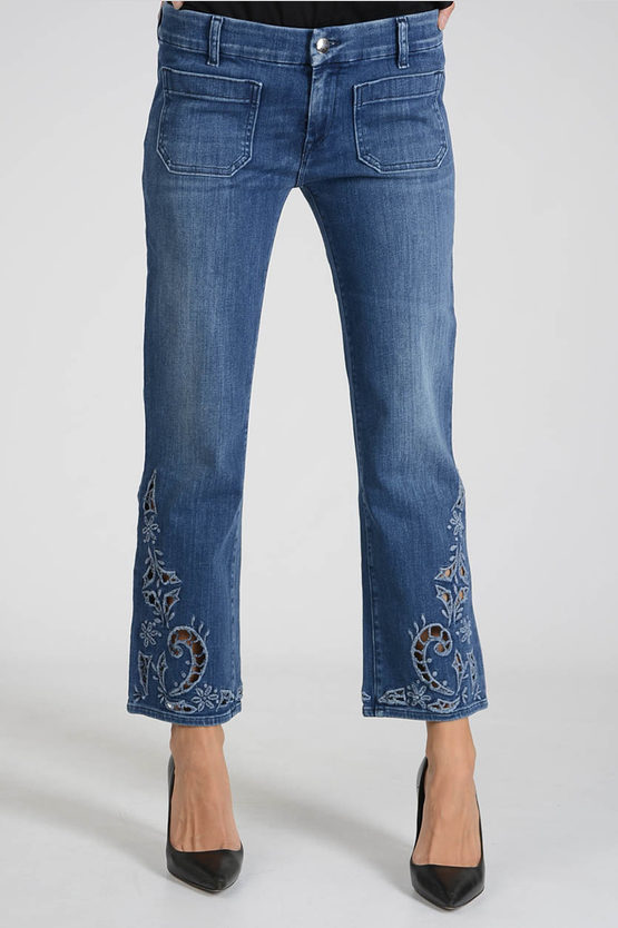 18cm Stretch Denim Embroidered Jeans
