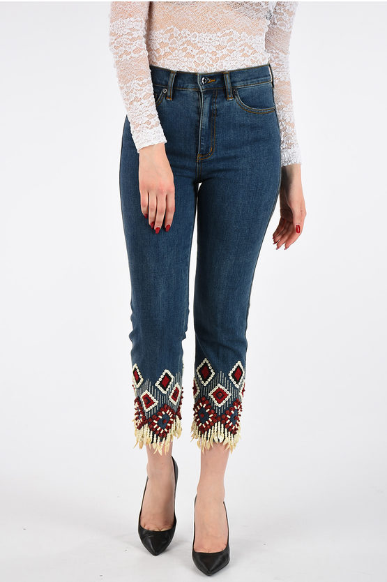 19cm Shell Embroidered Jeans