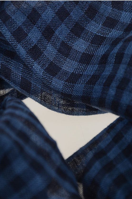 200x50cm Silk and Linen Checked Foulard