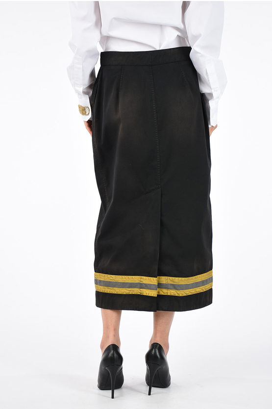 205W39NYC Cotton Blend Vintage Effect Skirt