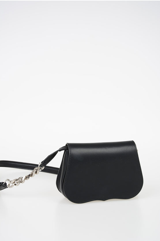 205W39NYC Leather Mini Shoulder Bag with Fringes