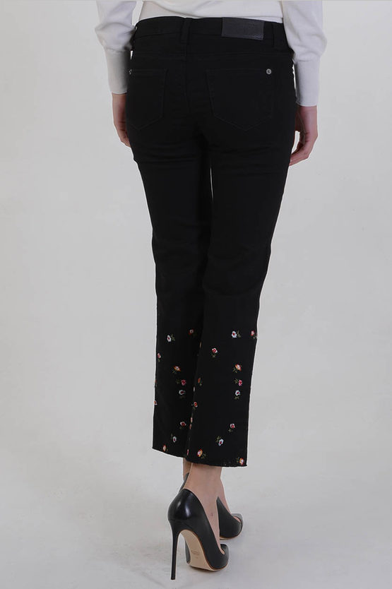 22cm Stretch Denim Flowers Embroidered Jeans