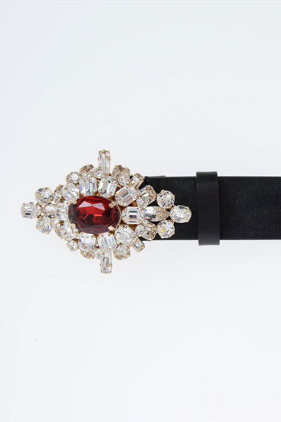30mm Leather Belt with Jewel Buckle