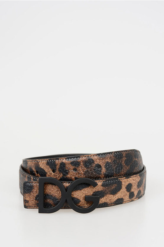 30mm Leopard Printed Leather Belt
