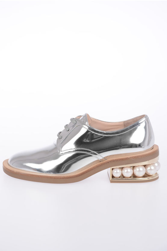 4.5 cm Metallic Leather Derby Shoes