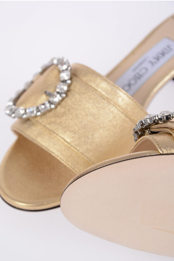 4 cm Metallic Leather GRANGER Mules with Jewel Buckle