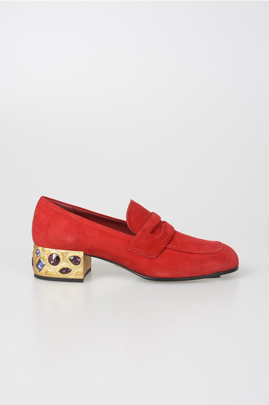 4 cm Suede Leather Jewel-Heel Loafer