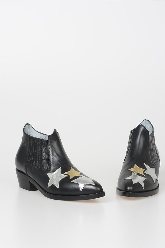 4cm Leather Stars Ankle Boots