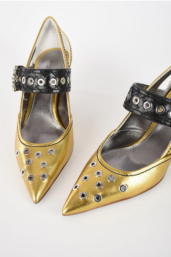 5.5 cm Leather Kitten Heel Pumps with Studs