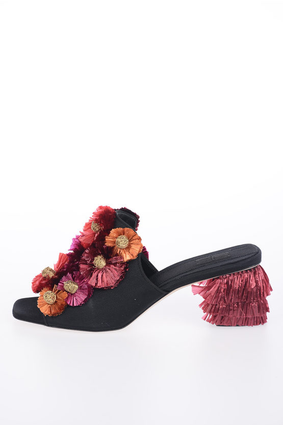 5 cm Open Toe Mules FLORA with Floral Applications