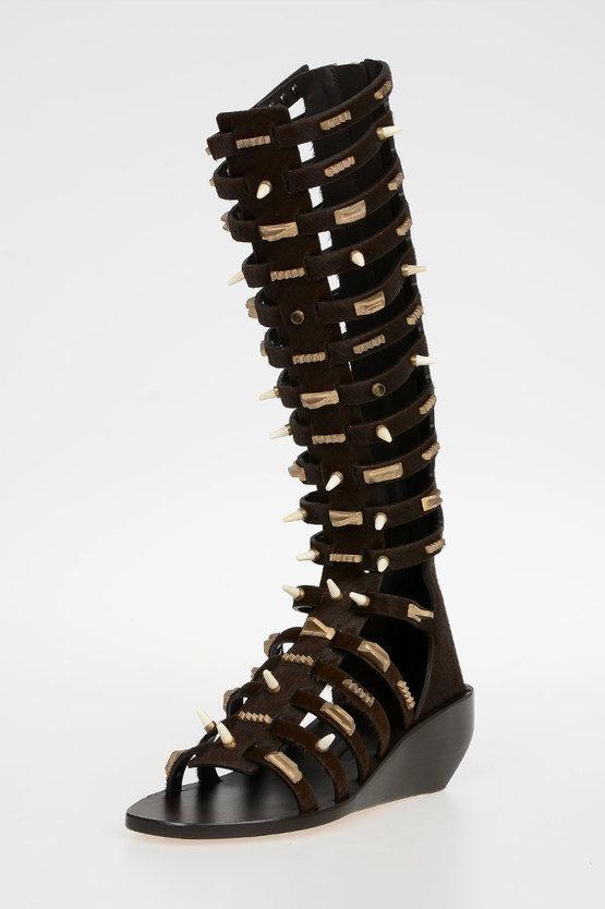 5 cm Ponyskin ALLOVER STUDDED HIGH Sandals DARKDUST