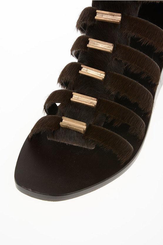 5 cm Ponyskin CENTRAL STUDDED HIGH Sandals DARKDUST