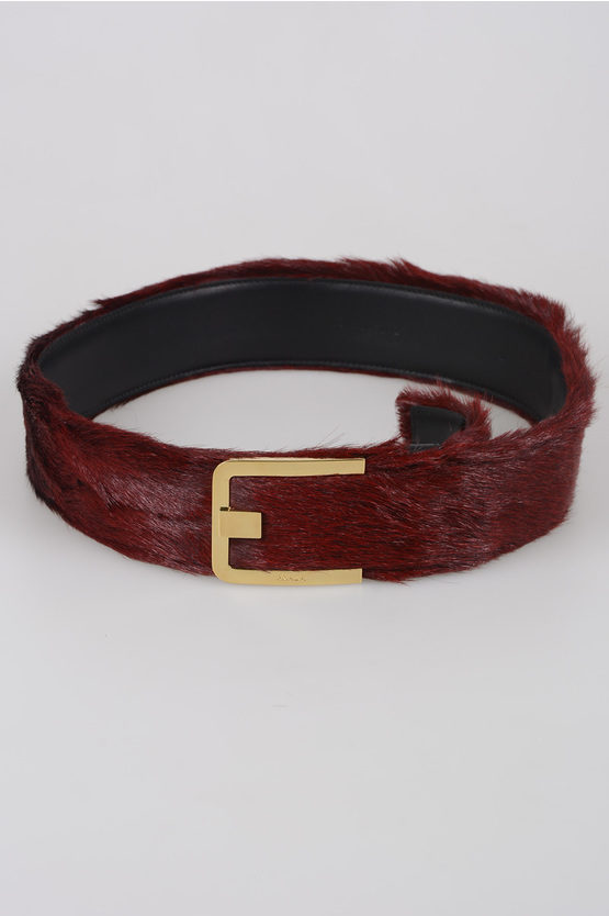 50mm Fur and Leather Belt