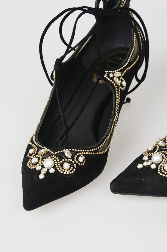 5cm Strass and Pearl Leather Pumps
