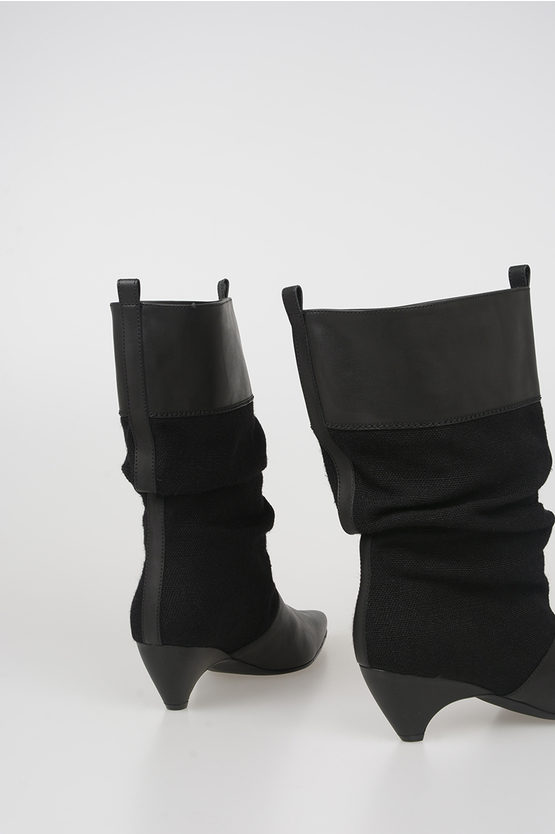 6cm Fabric Faux Leather Boots