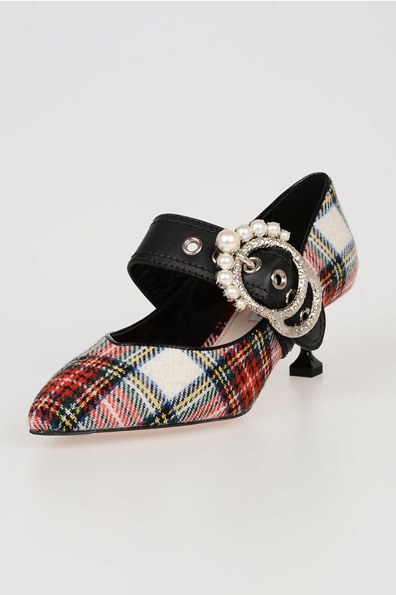 6cm Jewel Details Checked Shoes