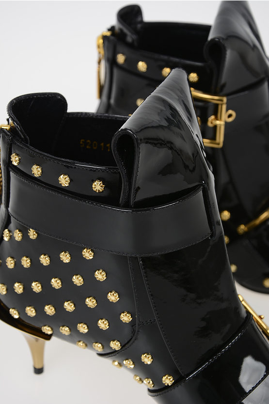 7 cm Patent Leather Booties with Studs