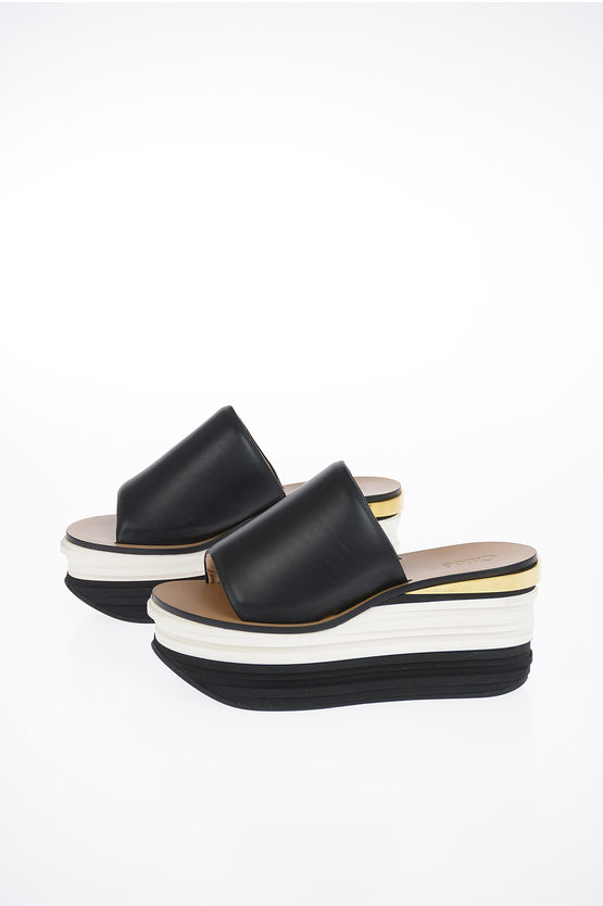 7cm Leather Sandal with Wedge