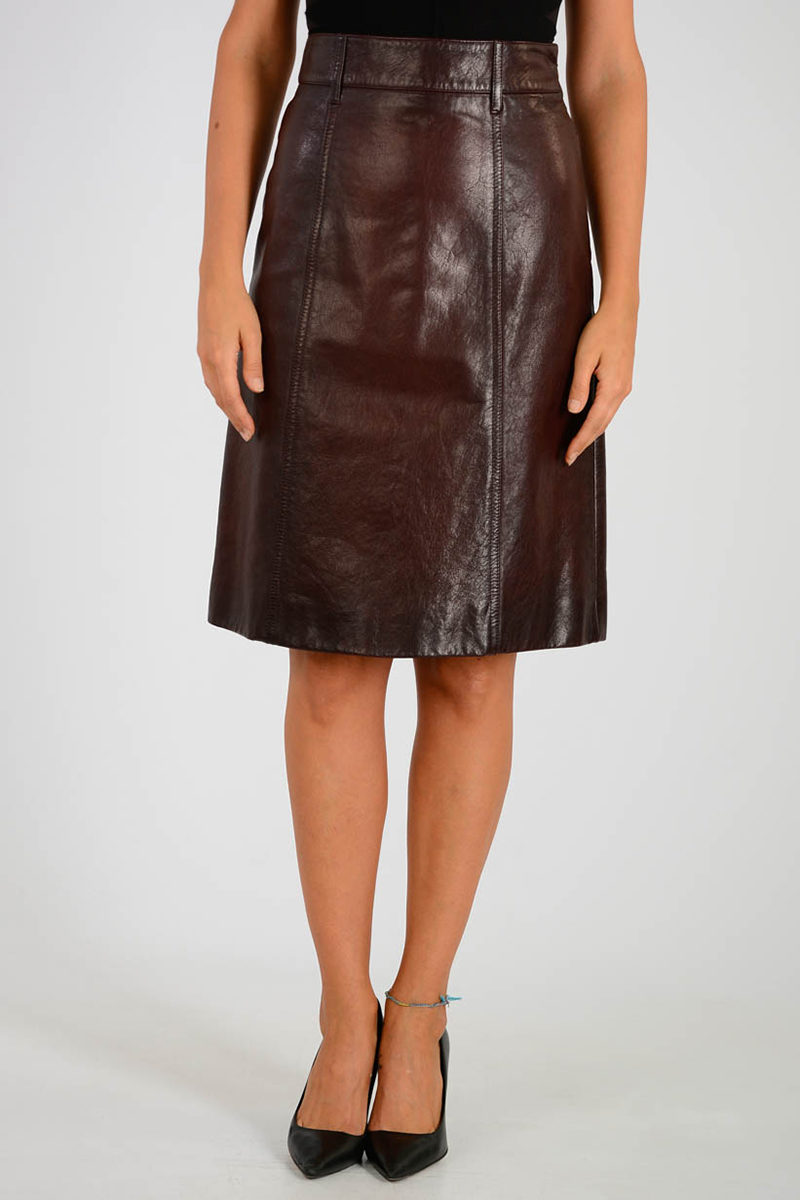 8a439506990f Prada A-Line Leather Skirt women - Glamood Outlet