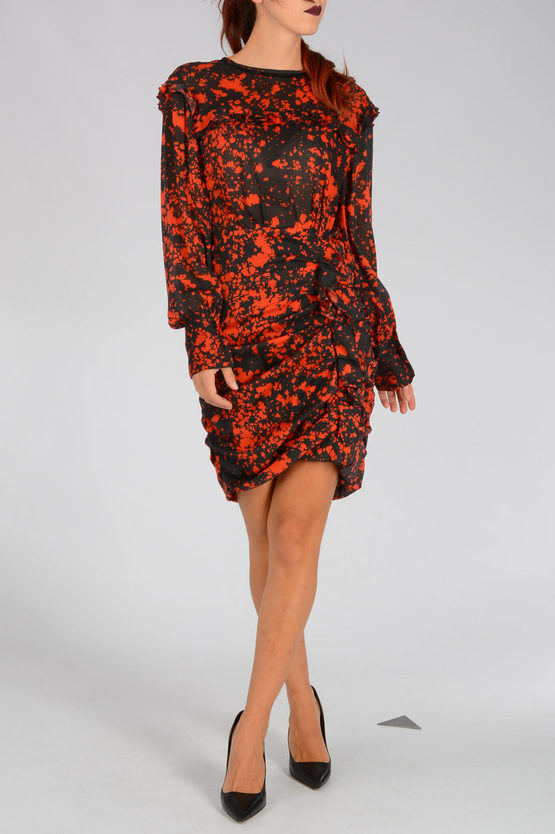 Abstract Print Stretch Silk Gathered Dress