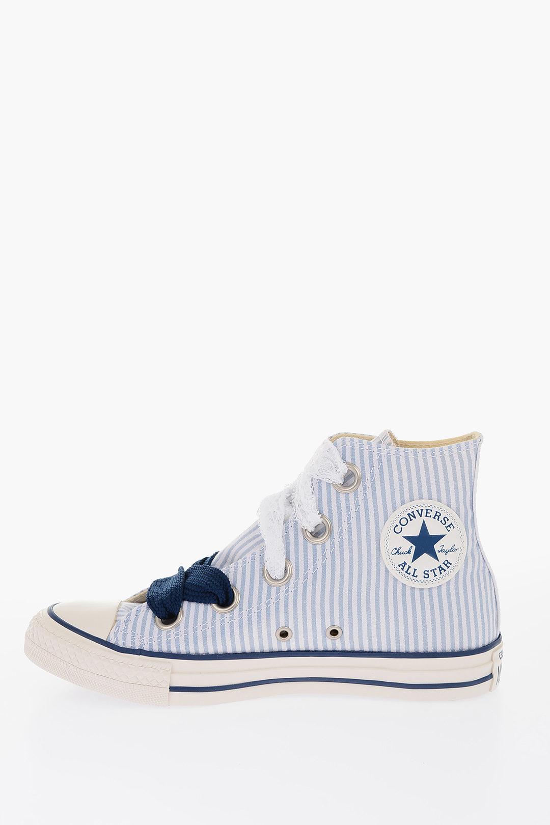 ALL STAR Sneaker Alte a Righe con Lacci in Pizzo