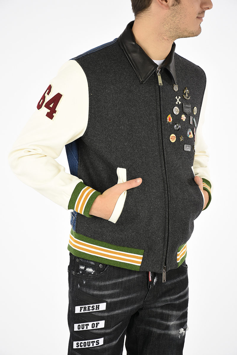 With Pins Men Glamood Outlet Jacket Bomber Dsquared2 EqtwxUPI