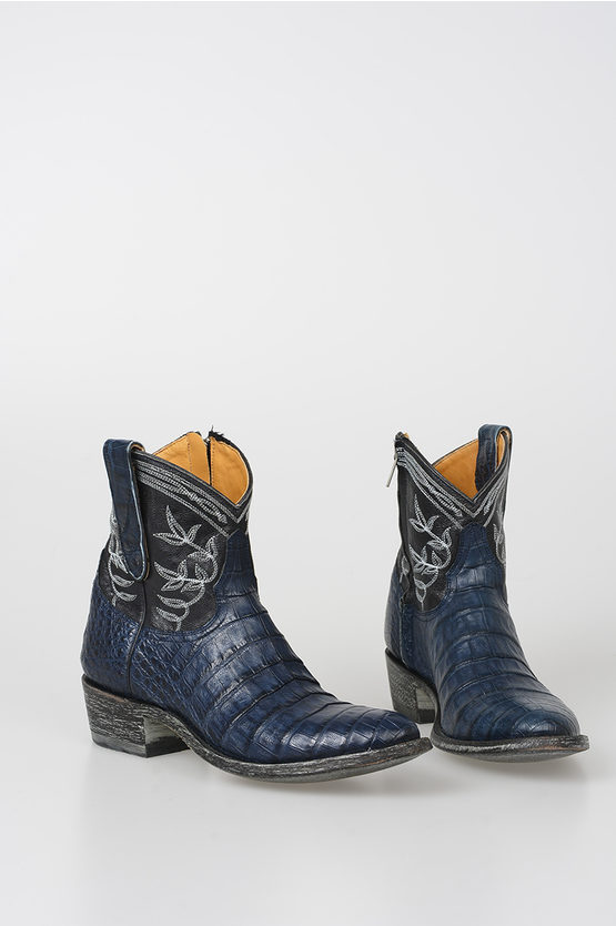 Caiman Leather Ankle Boots