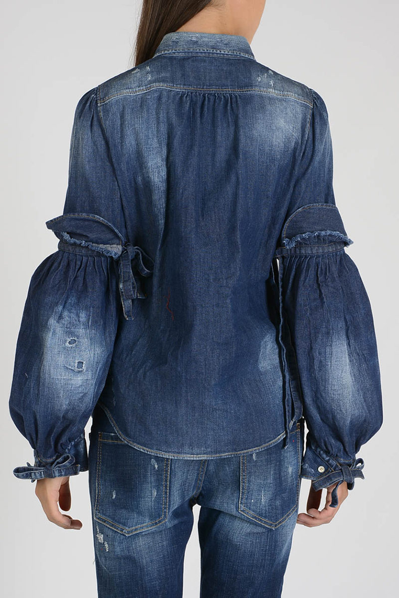 Dsquared2 Camicia in Denim con Manicotti donna - Glamood Outlet b414c3672b32