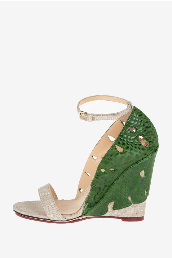 Canvas and Leather VERDANT Sandals 10 cm