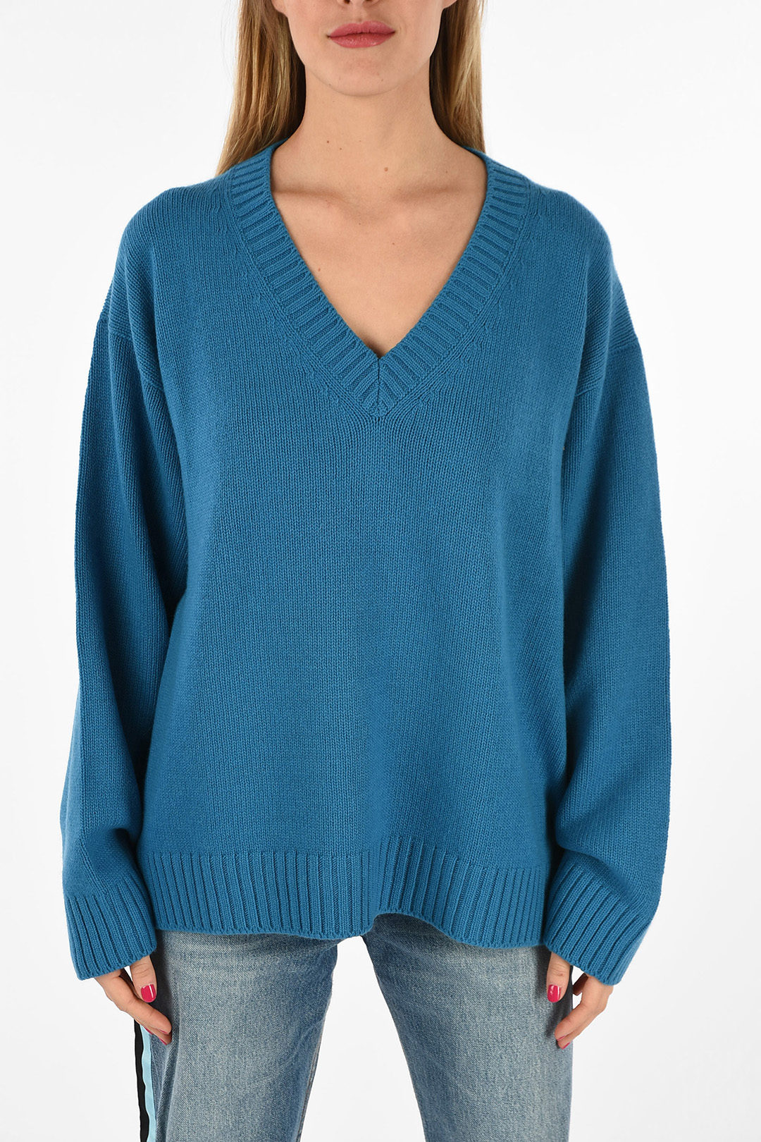 cashmere and virgin wool v neck sweater