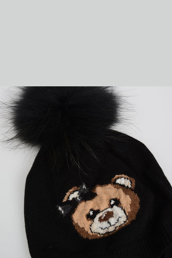 Cashmere and Wool Blend Beanie Hat with Fur