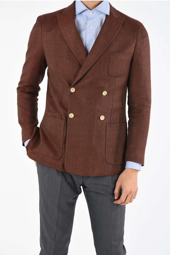 CC COLLECTION flax blend double-breasted REWARD blazer