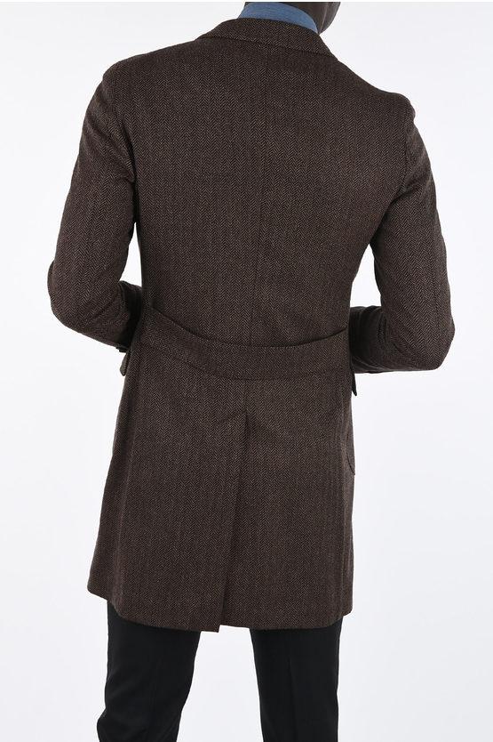CC COLLECTION plain herringbone three-quarter length coat
