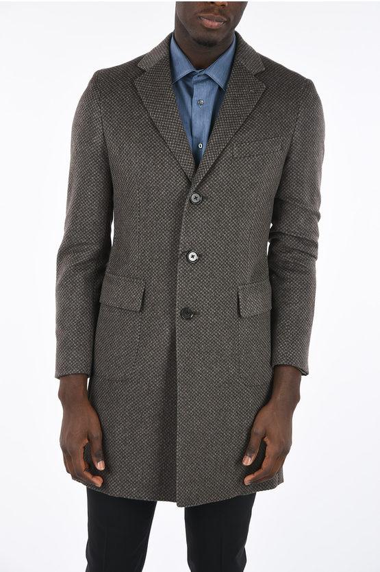 CC COLLECTION pure cashmere half-lined minichecked coat