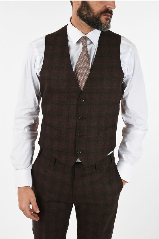 CC COLLECTION RESET tattersall check virgin wool drop 8R 3 piece waistcoat suit