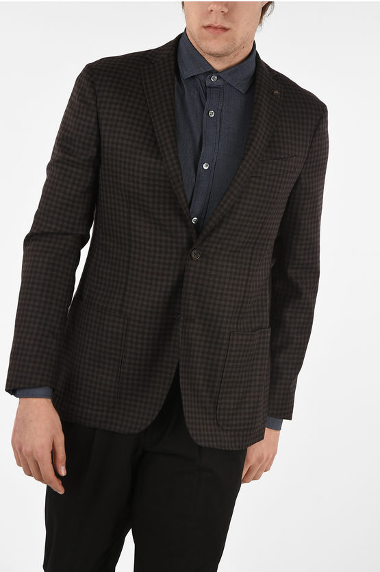 CC COLLECTION shephard's check cashmere drop 6R 2-button RIGHT blazer